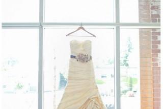 wedding dress with with purple flower belt