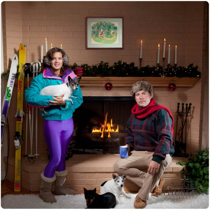funny family christmas photos in front of the fire place
