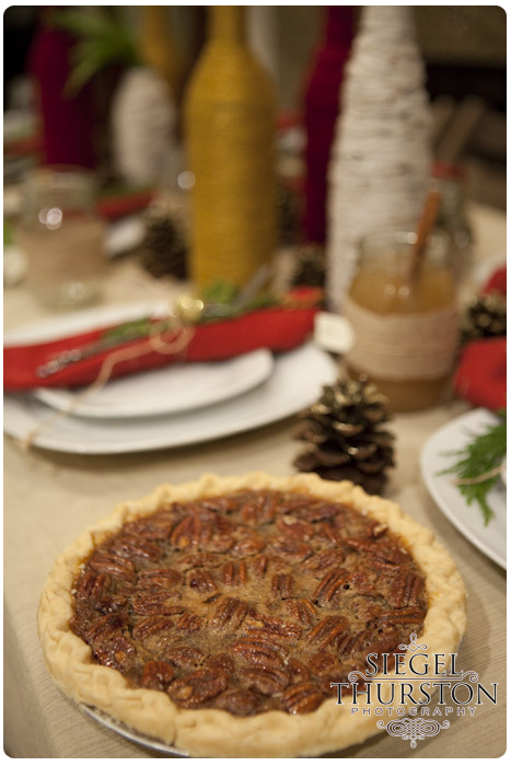 Pecan pie dessert served at a winter dinner party
