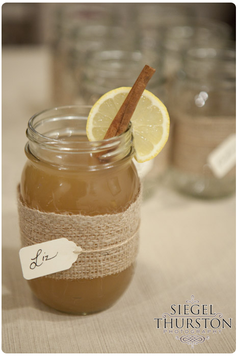 DIY mason jars as party cups with burlap twine and small nametags