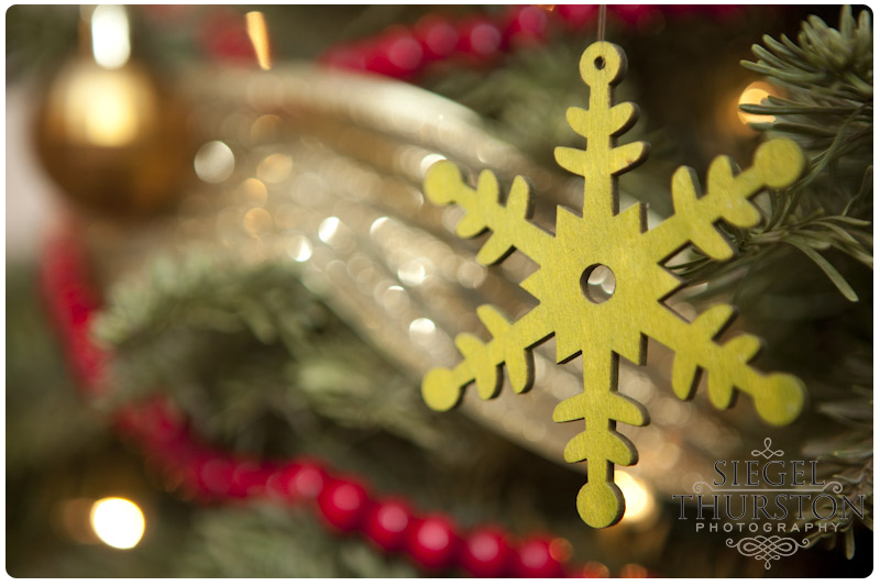 green wooden snowflake christmas ornament hanging on a tree
