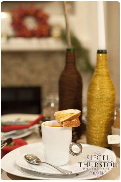 gourmet tomato bisque and grilled cheese for a winter dinner party
