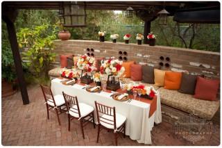 rustic inspired wedding tables set up at estancia la jolla hotel
