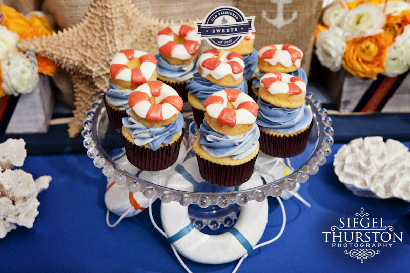 red and white life saver cup cakes for nautical party