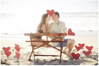 diy red hearts on sticks for vintage beach engagement shoot propping