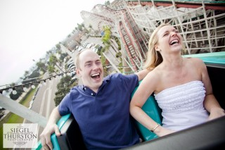 belmont park roller coaster engagement photos