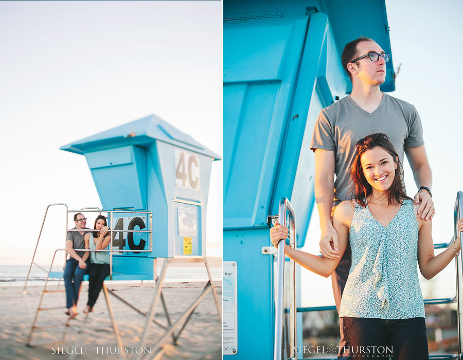 beach portraits with a life guard tower on the coronado beach in san diego