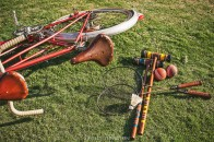 tandem bicycle and croquet are fun props on an engagement shoot