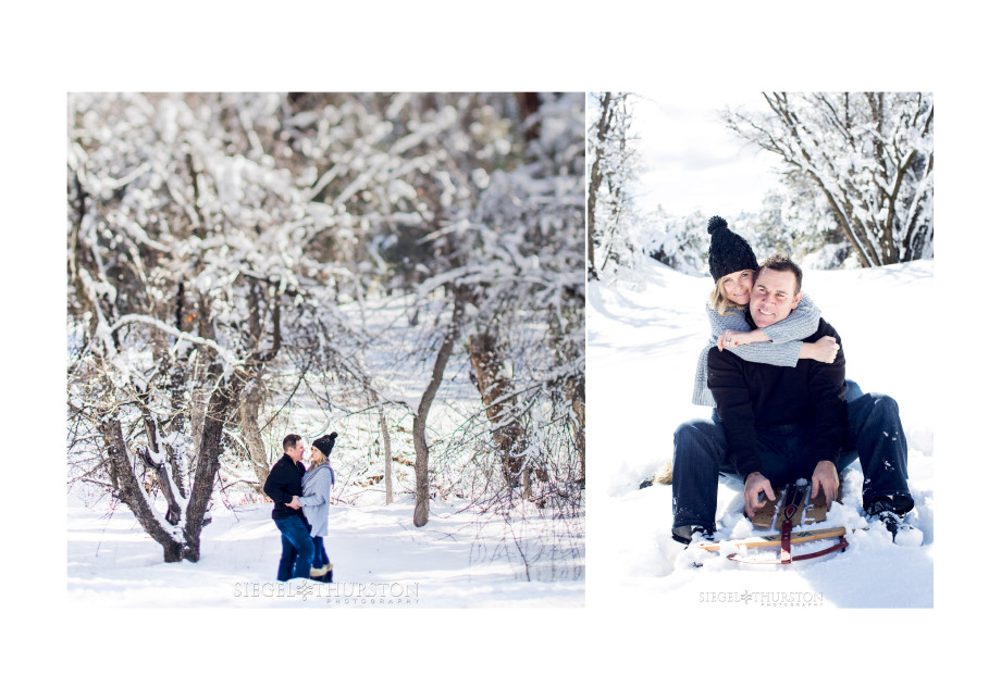 cute winter snow engagement photos