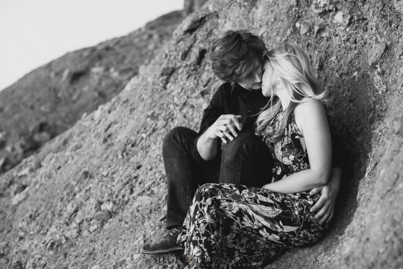 romantic outdoor desert engagement session phoenix arizona